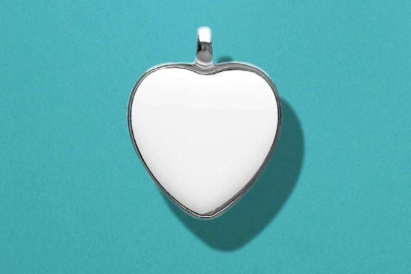 Ciondolo in ceramica cuore cornice argento Dekal